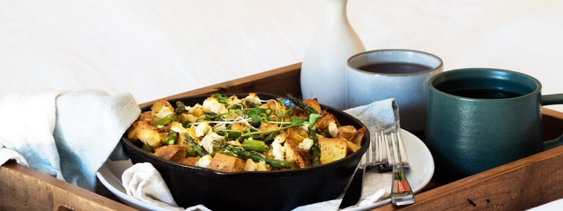 Asparagus & Goat Cheese Strata for Two